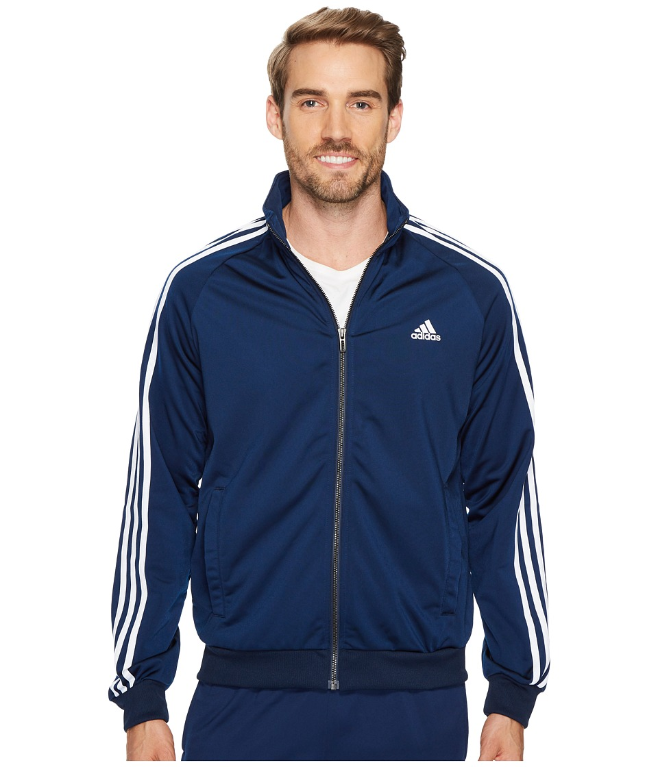 adidas - Essentials 3S Tricot Track Jacket (Collegiate Navy/White) Men's Coat