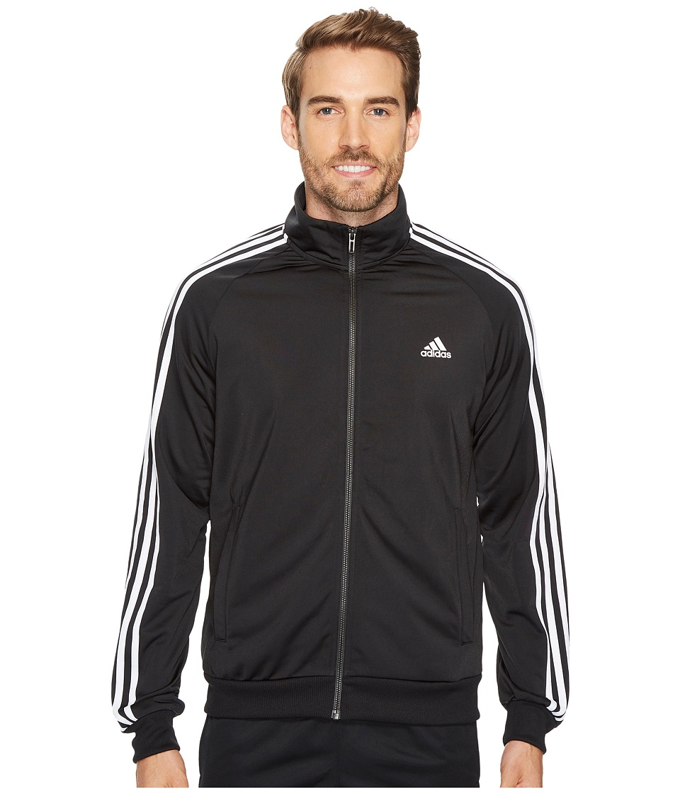adidas - Essentials 3S Tricot Track Jacket (Black/White) Men's Coat