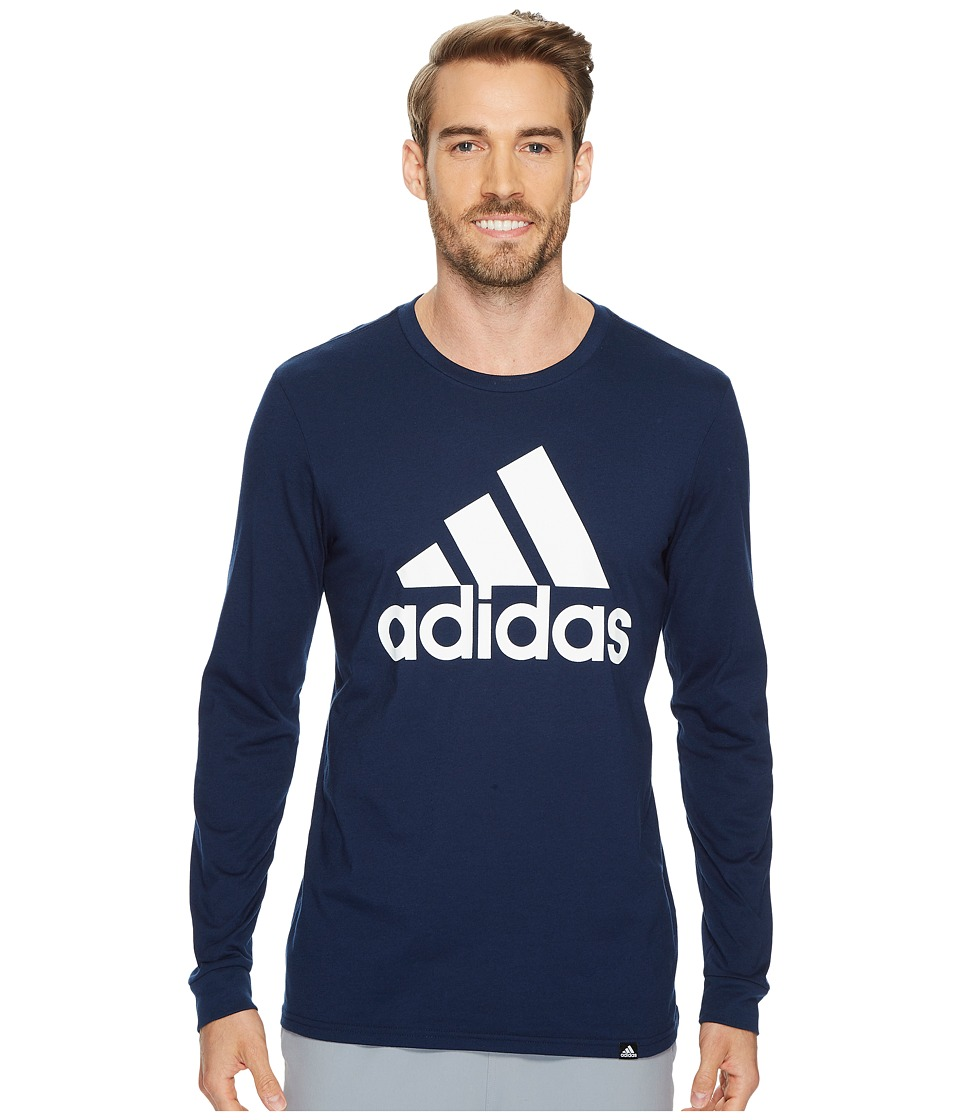 adidas - Badge of Sport Classic Long Sleeve Tee (Collegiate Navy/White) Men's T Shirt