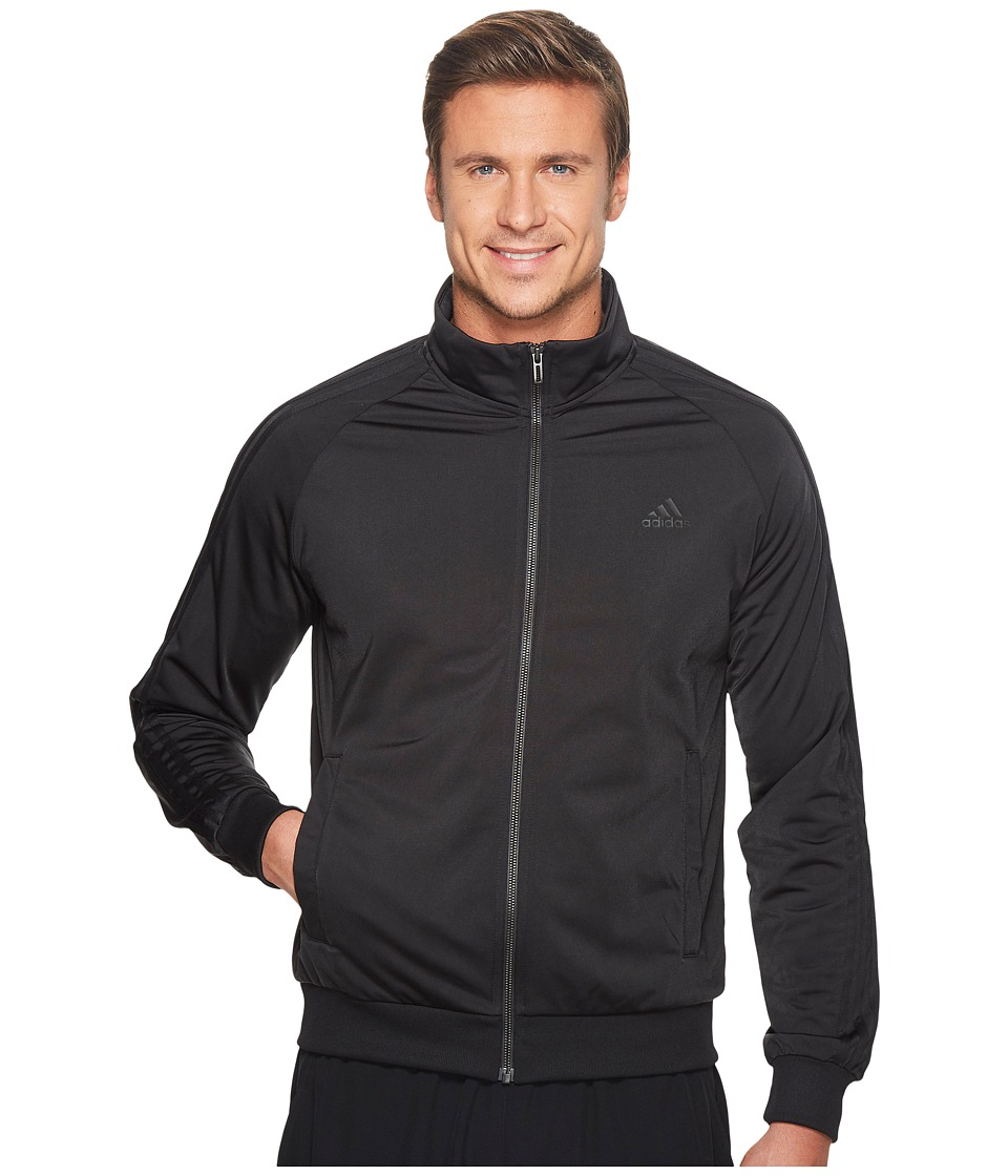 adidas - Essentials 3S Tricot Track Jacket (Black/Black) Men's Coat