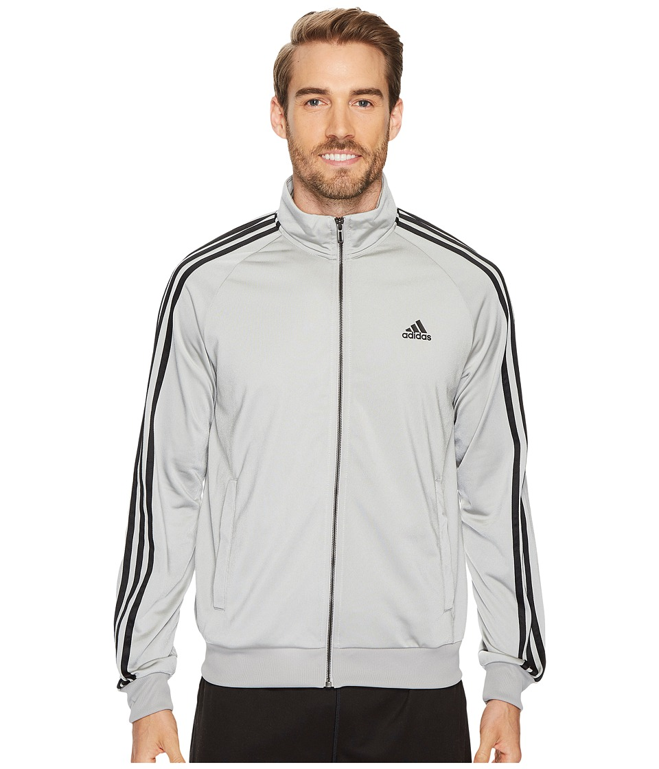 adidas - Essentials 3S Tricot Track Jacket (Medium Grey Heather Solid Grey/Black) Men's Coat