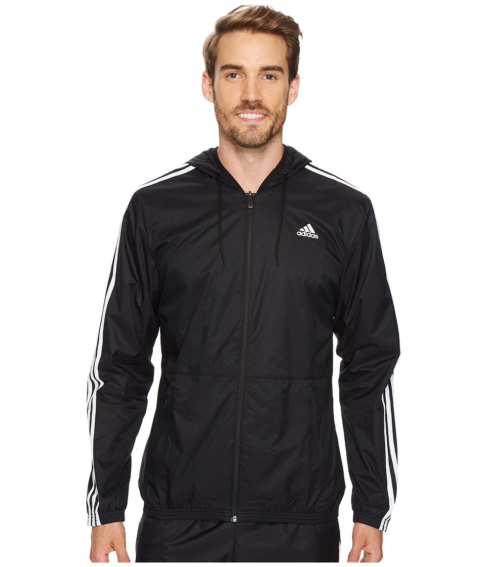 adidas - Essentials Wind Jacket (Black/Black/White) Men's Coat