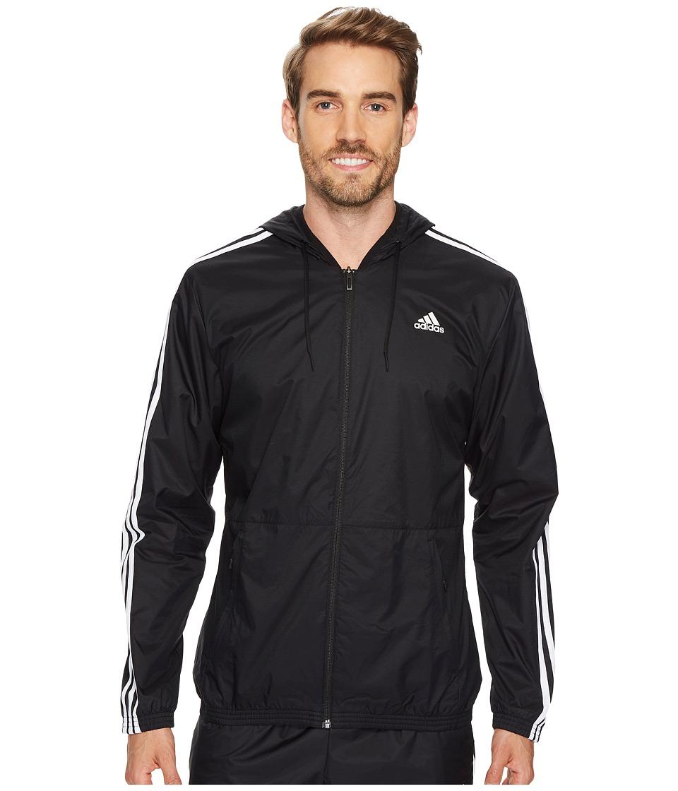 adidas - Essentials Wind Jacket (Black/Black/White) Men's Coat