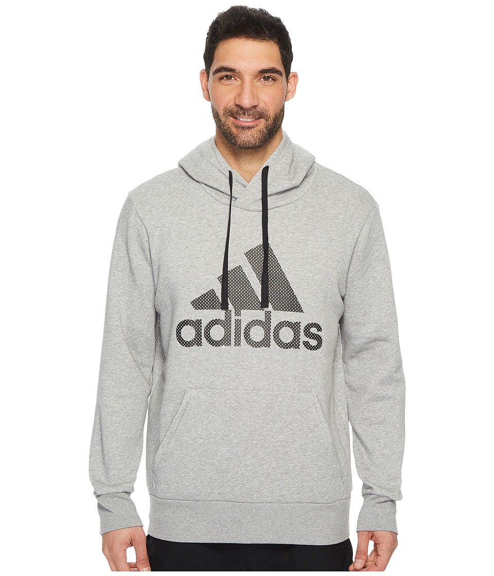 adidas - Essentials Cotton Pullover Logo Hoodie (Medium Grey Heather/Black) Men's Sweatshirt