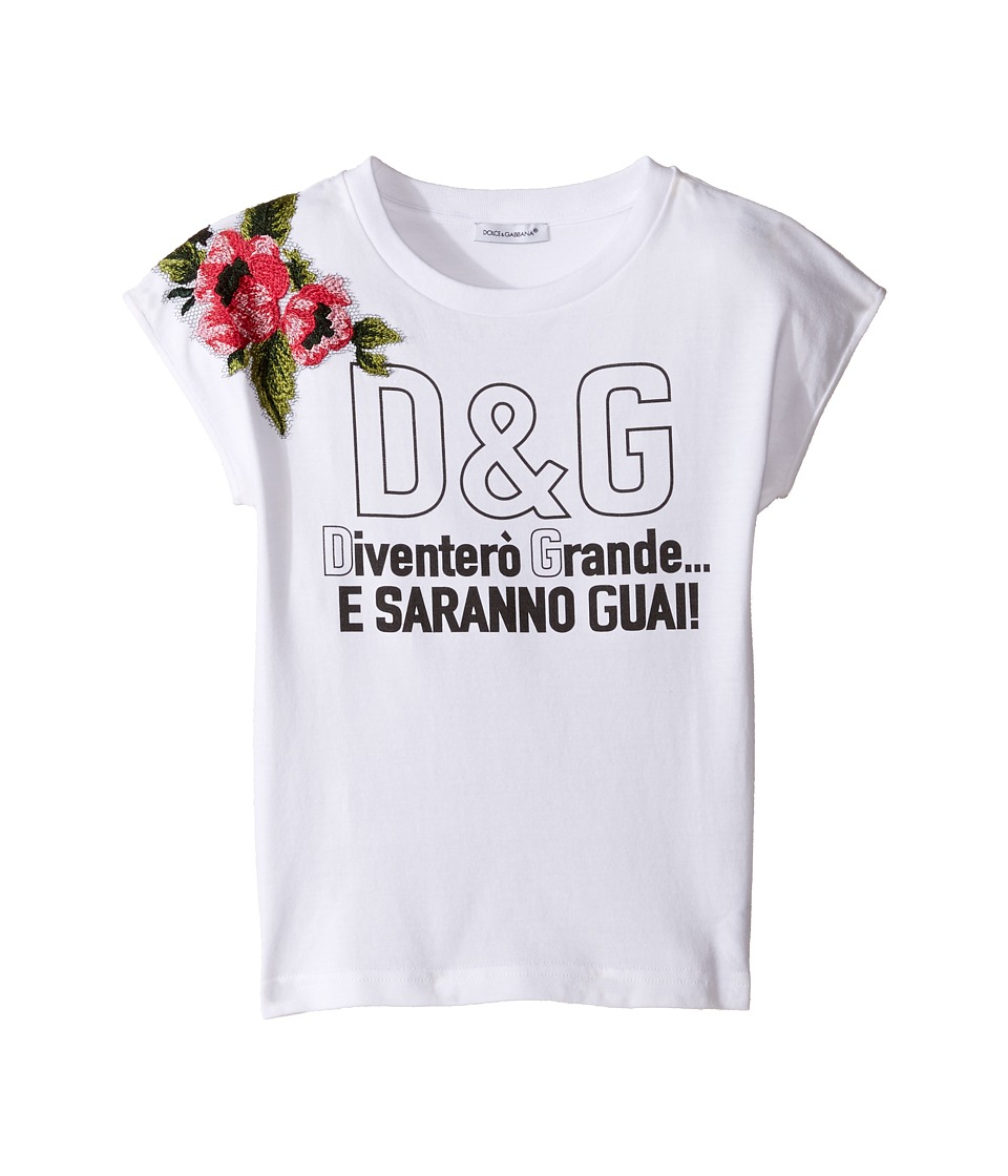Dolce & Gabbana Kids - When I Grow Up Tee (Toddler/Little Kids) (White Print) Girl's T Shirt