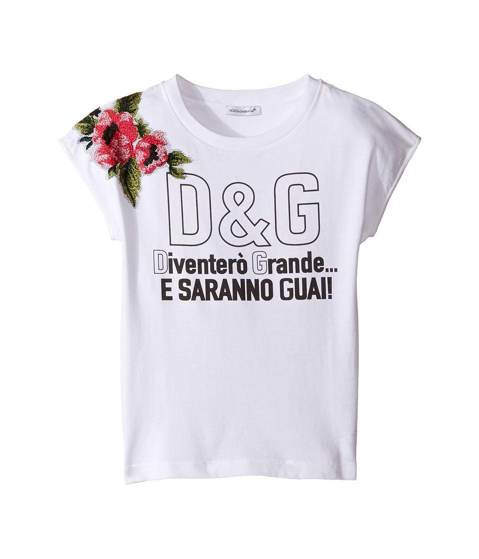 Dolce & Gabbana Kids - When I Grow Up Tee (Toddler/Little Kids) (White Print) Girl's T Shirt
