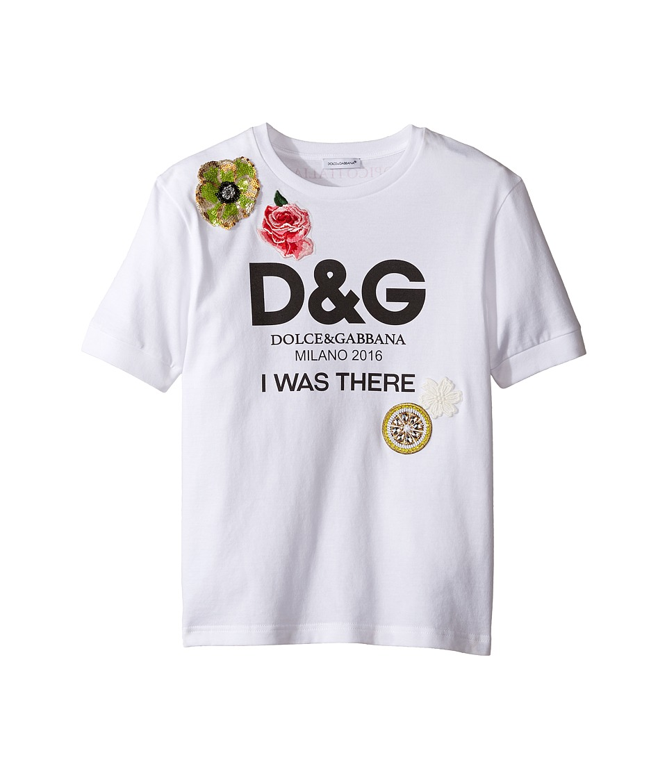 Dolce & Gabbana Kids - I Was There Tee (Toddler/Little Kids) (White Print) Girl's T Shirt