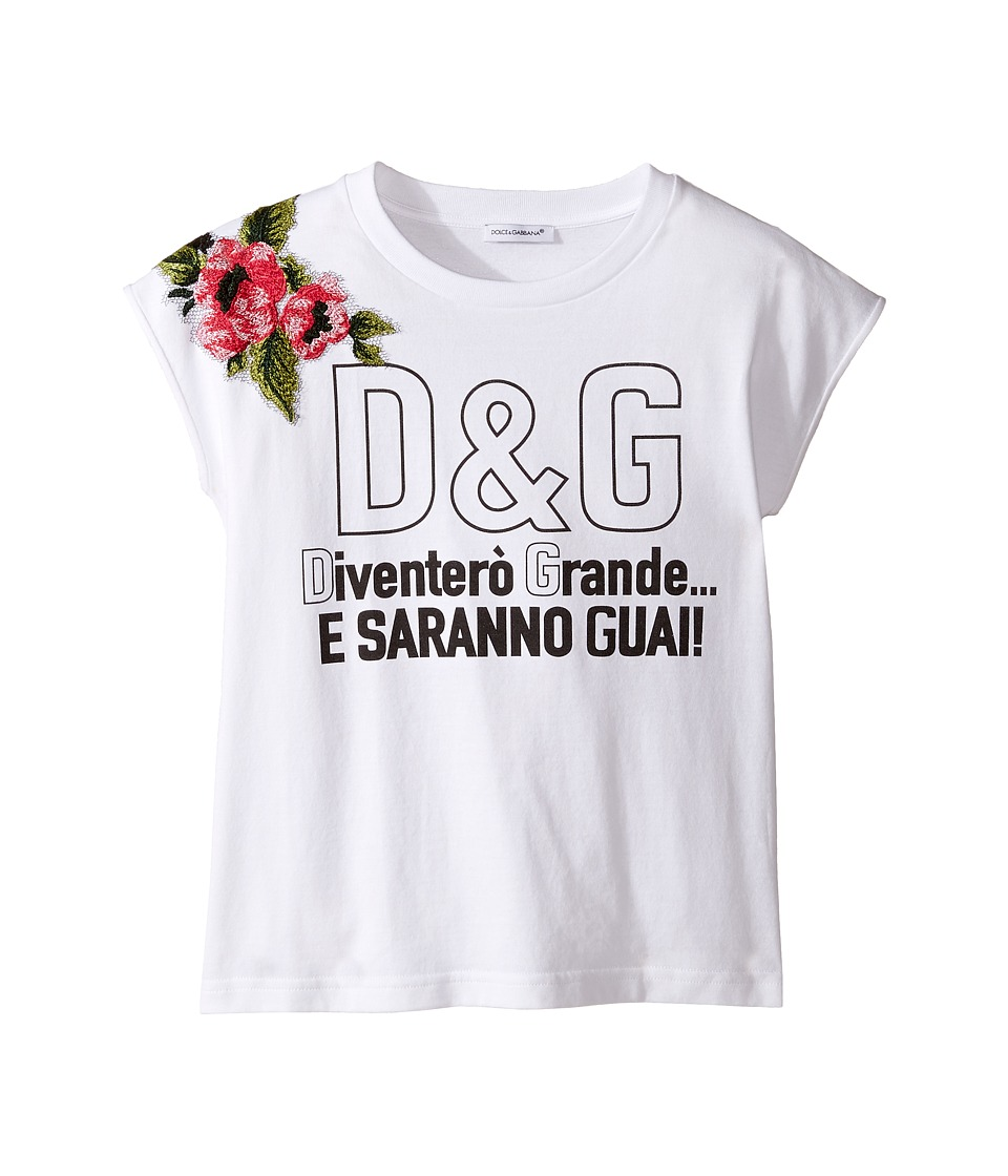 Dolce & Gabbana Kids - When I Grow Up Tee (Big Kids) (White Print) Girl's T Shirt