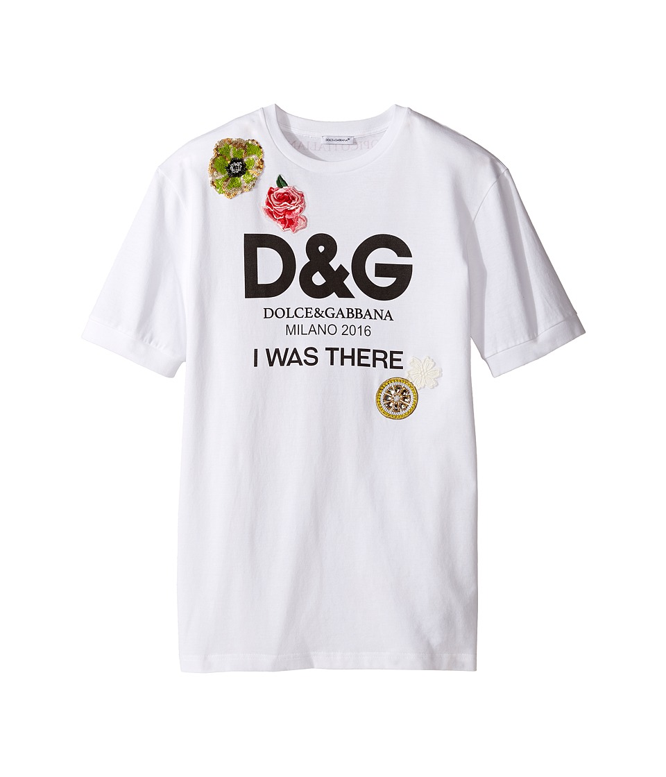 Dolce & Gabbana Kids - I Was There Tee (Big Kids) (White Print) Girl's T Shirt
