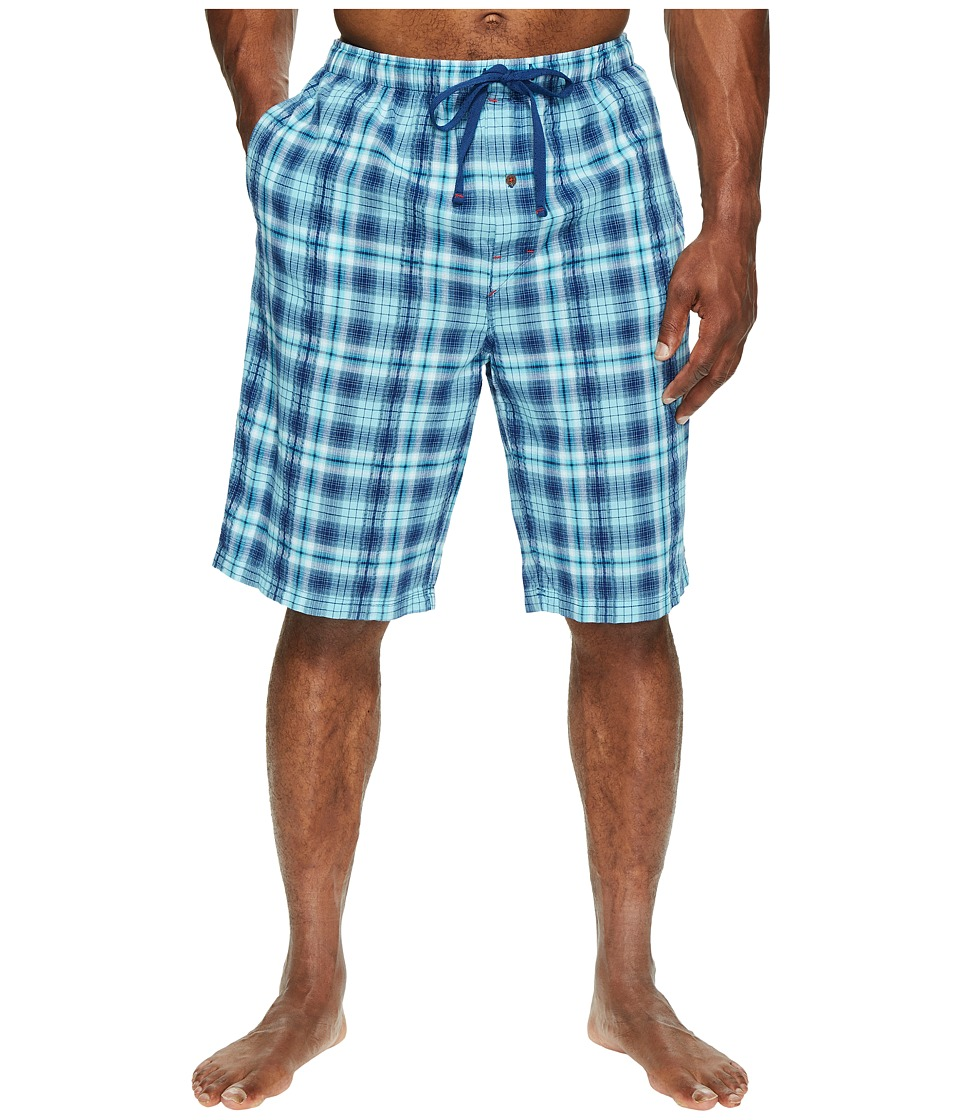 Tommy Bahama - Big Tall Woven Seersucker Jam Shorts (Blue Plaid) Men's Pajama
