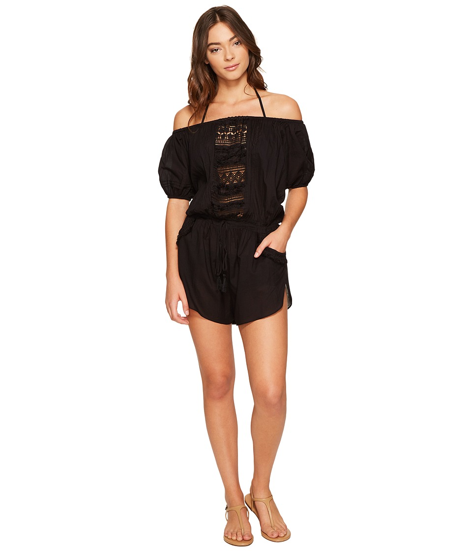 Vitamin A Swimwear - Marmont Romper Cover-Up (Black Gold Coast Cotton Voile) Women's Jumpsuit & Rompers One Piece