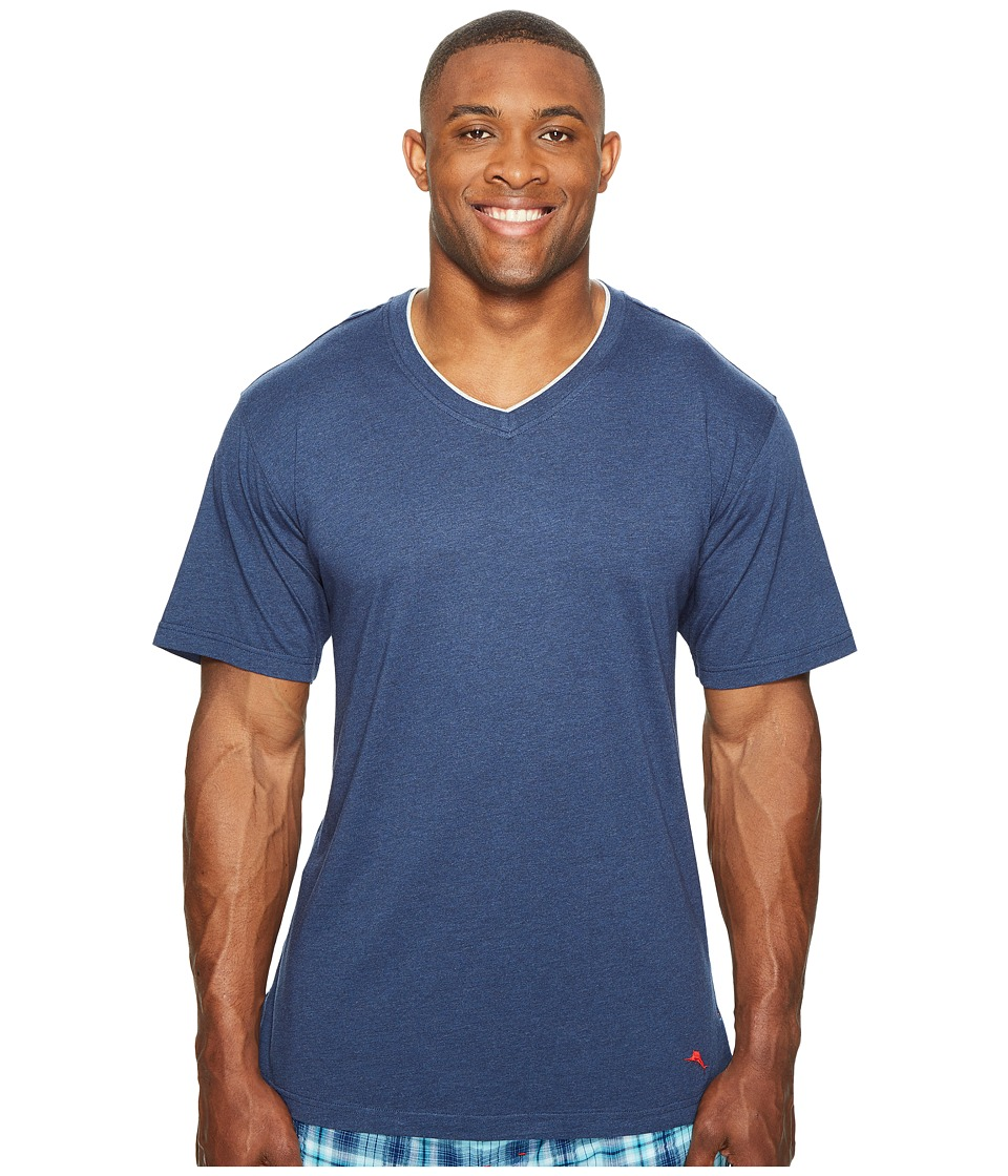Tommy Bahama - Big Tall V-Neck Short Sleeve T-Shirt (Indigo Heather) Men's Pajama