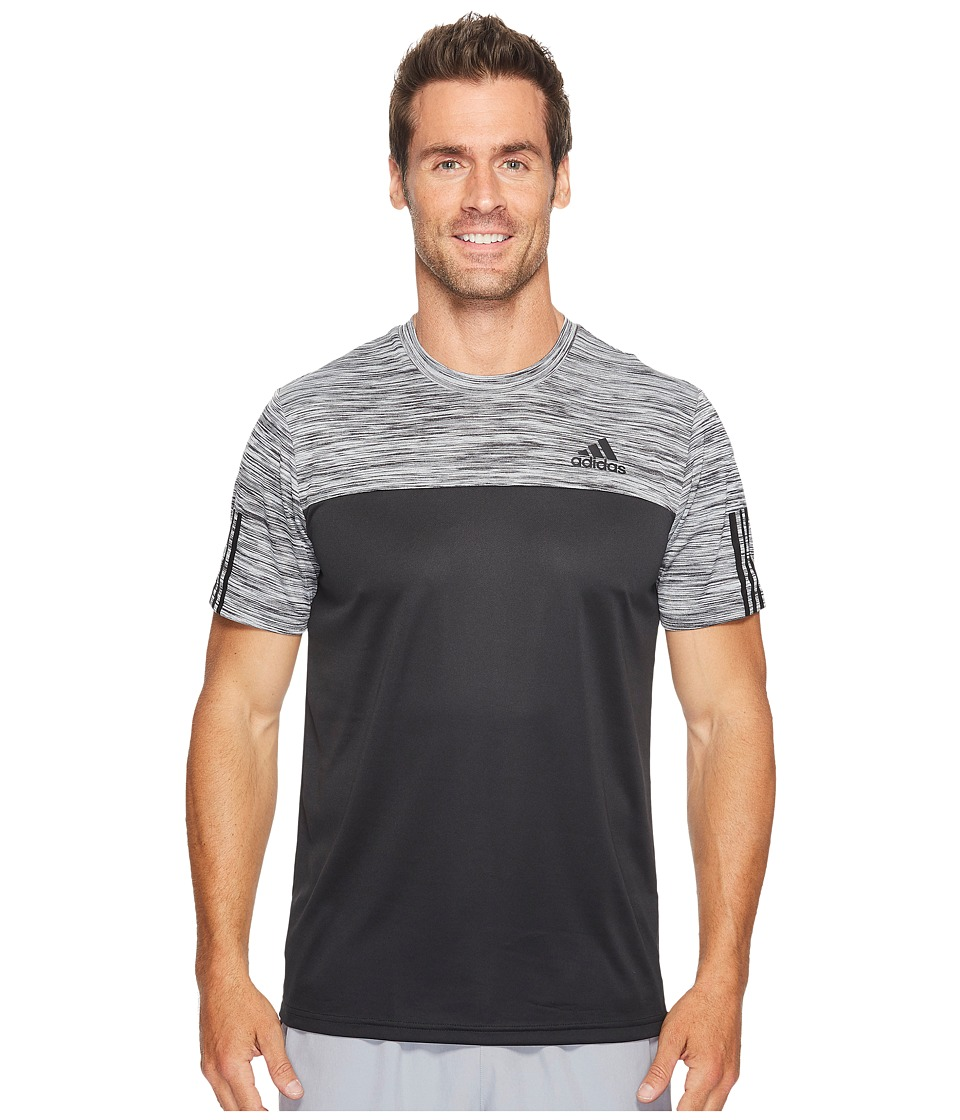 adidas - CB Essentials Tech Heather Tee (Black/Colored Heather/Black) Men's T Shirt