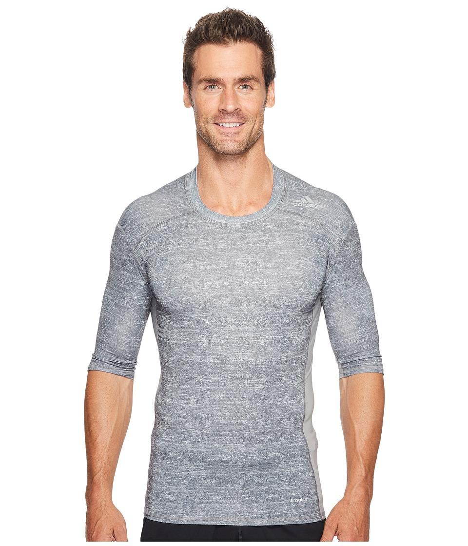 adidas - Techfit Base Short Sleeve (Core Heather/Print) Men's Clothing