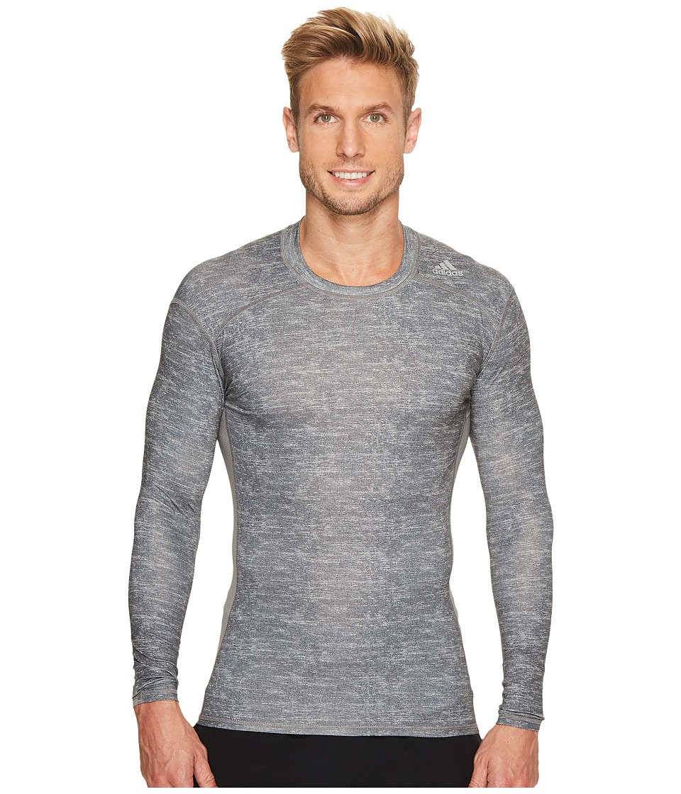 adidas - Techfit Base Long Sleeve (Core Heather/Print) Men's Clothing