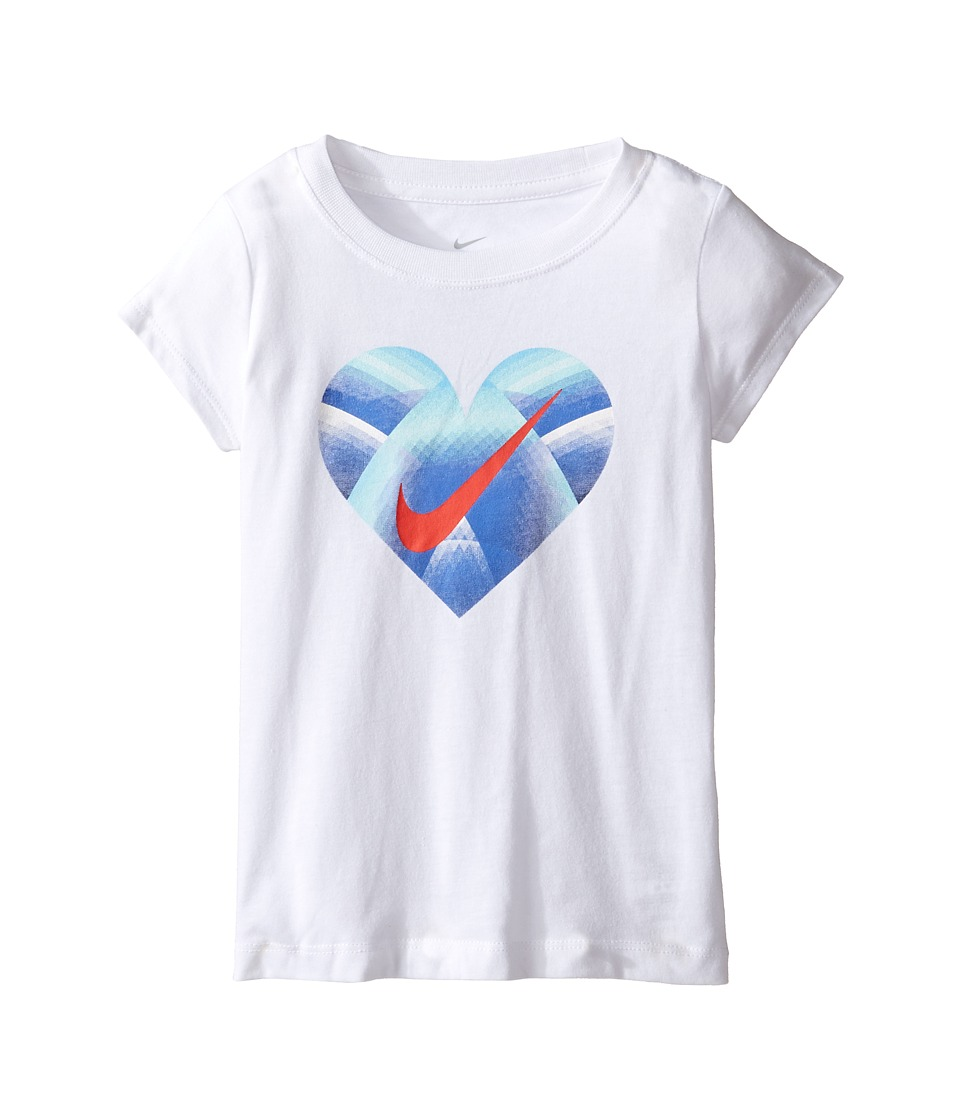 Nike Kids - Step Gradient Heart Core Short Sleeve Tee (Toddler) (White) Girl's T Shirt