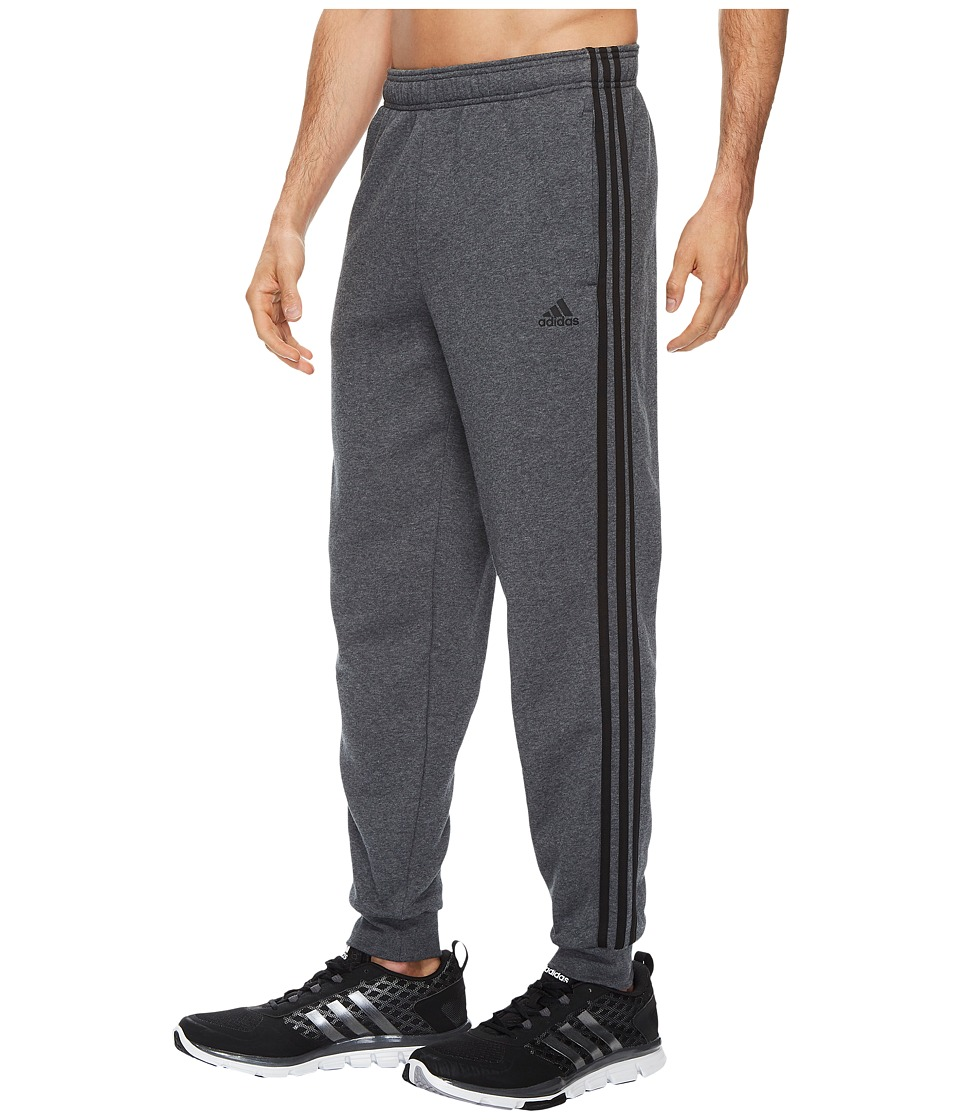 adidas - Essentials 3S Tapered Cuffed Pants (Dark Grey Heather/Black) Men's Casual Pants
