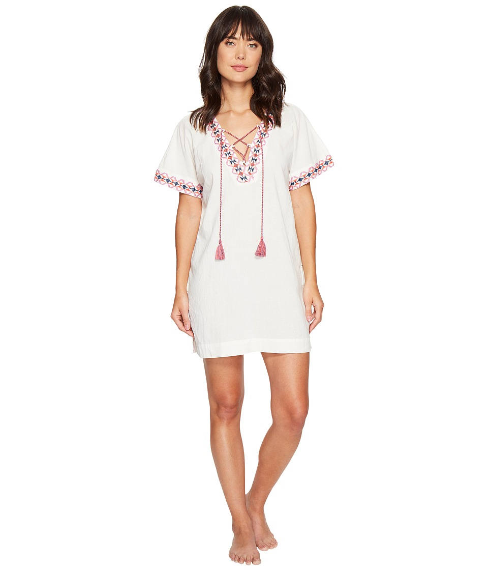 Lucky Brand - Lace-Up Caftan (Cloud Dancer White) Women's Pajama