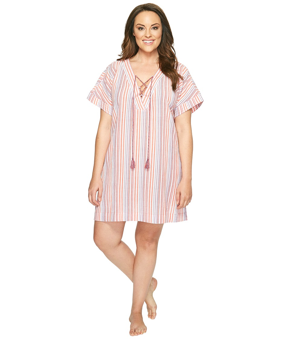Lucky Brand - Plus Size Lace-Up Caftan (Multi August Stripes) Women's Pajama