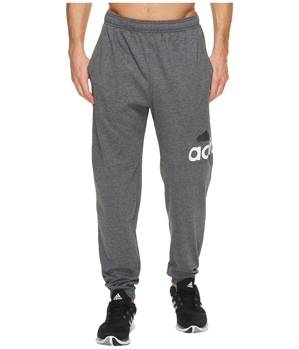 adidas - Essentials Logo Tapered Single Jersey Pants (Dark Grey Heather/White) Men's Casual Pants