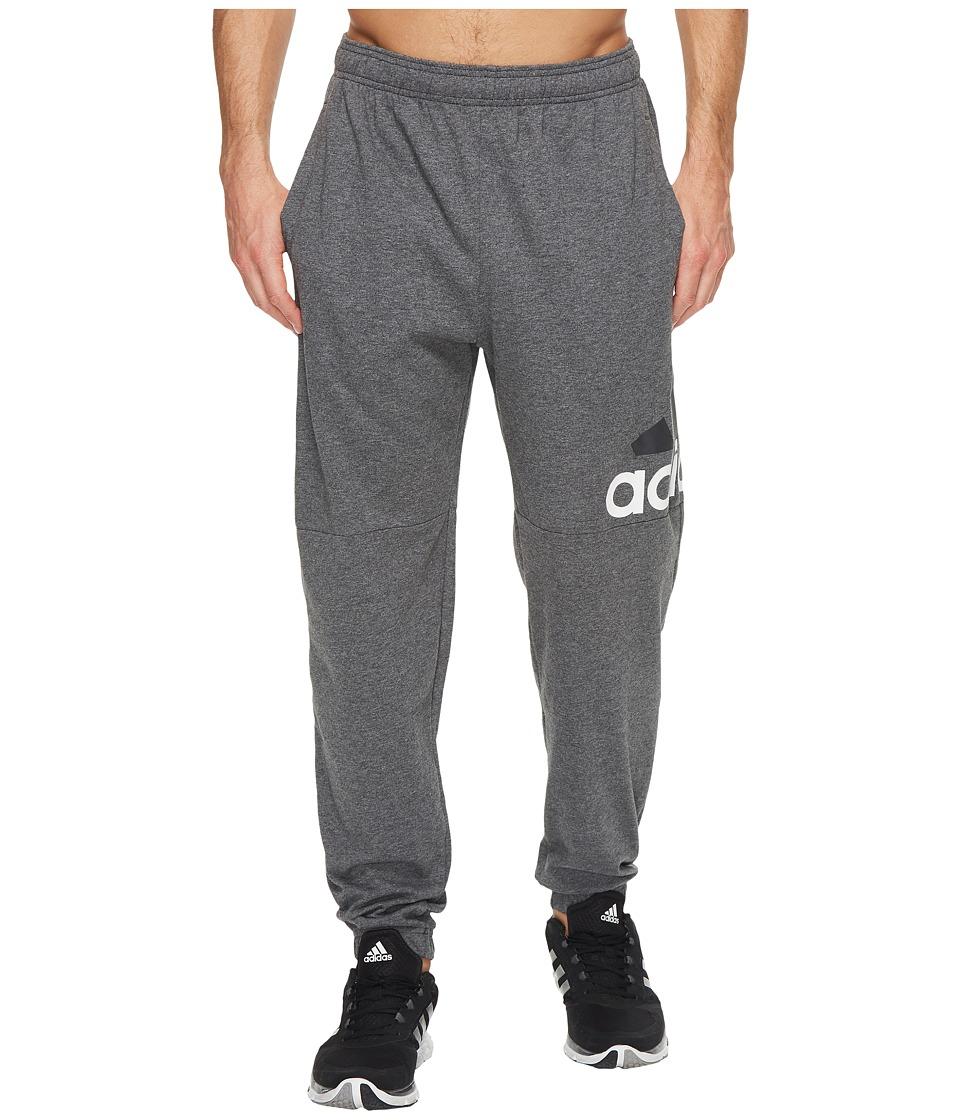 adidas - Essentials Logo Tapered Single Jersey Pants (Dark Grey Heather/White) Men's Casual Pants