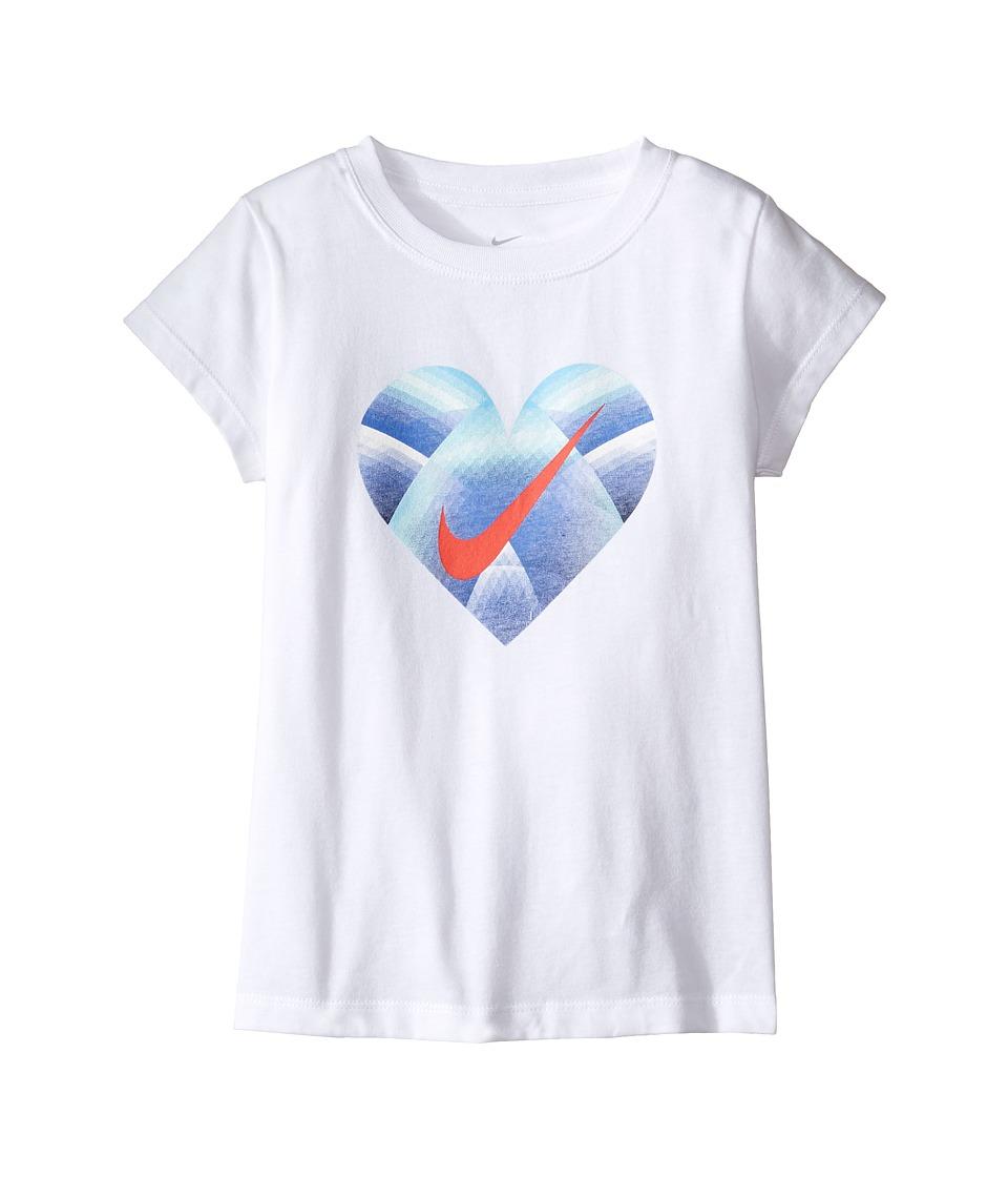 Nike Kids - Step Gradient Heart Core Short Sleeve Tee (Little Kids) (White) Girl's T Shirt