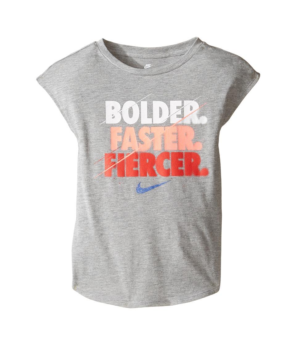 Nike Kids - Bolder Modern Short Sleeve Tee (Little Kids) (Dark Grey Heather) Girl's T Shirt