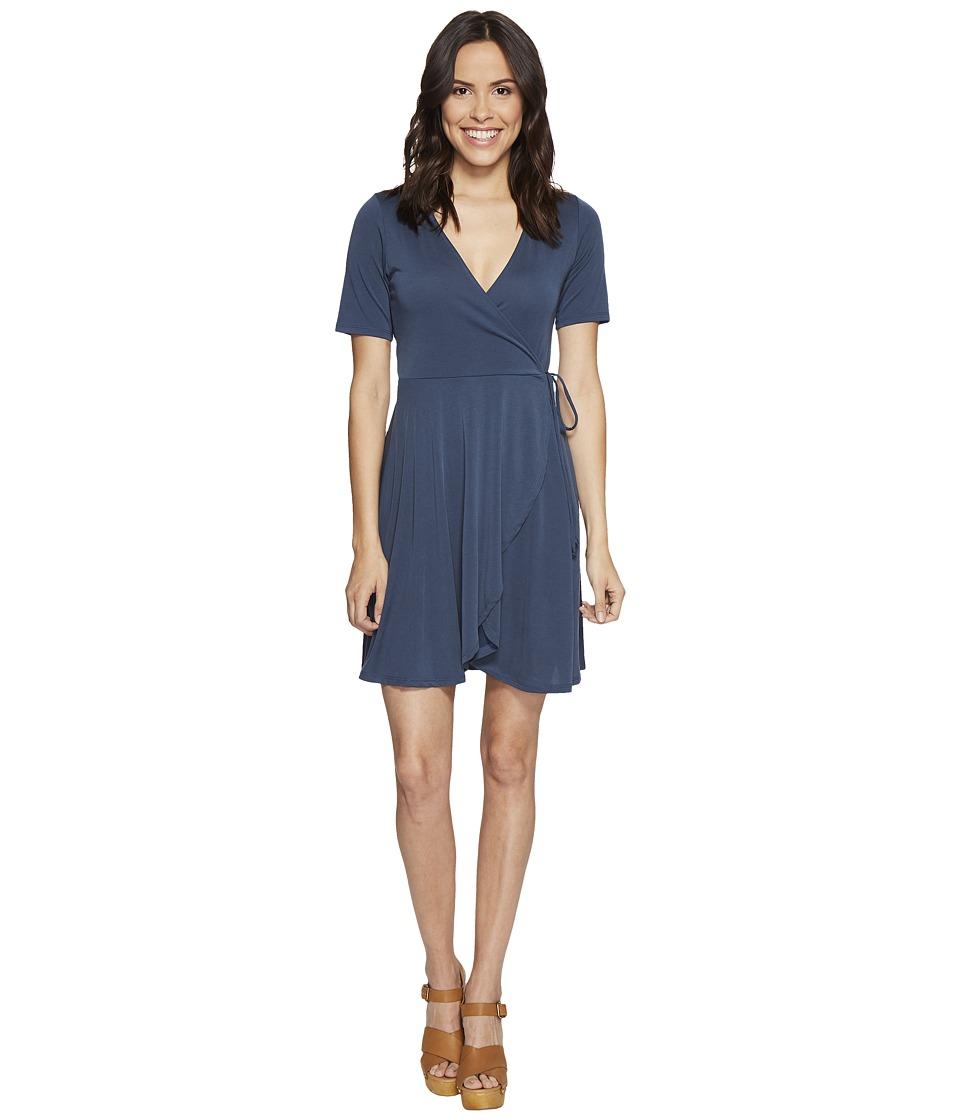 Culture Phit Aerin Short Sleeve Wrap Dress (Blue) Women