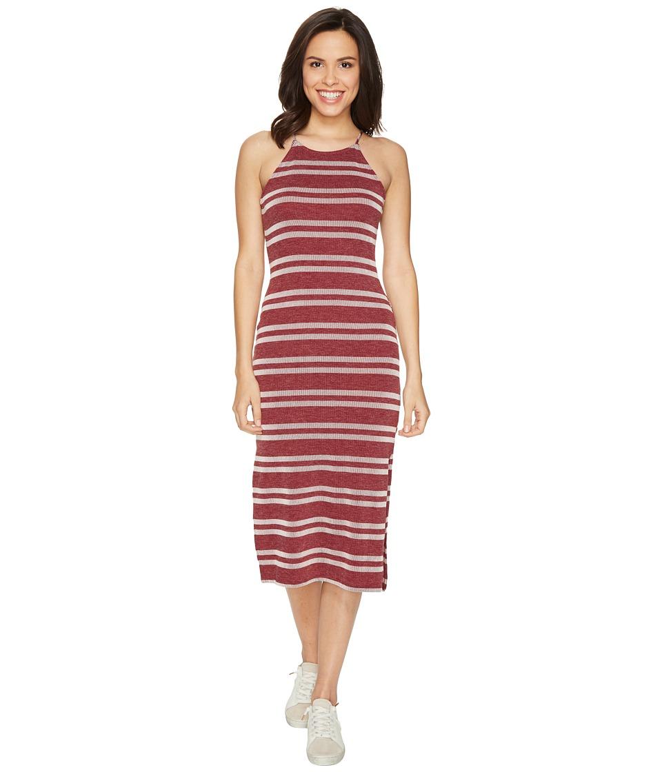 Culture Phit - Indra Spaghetti Strap Striped Dress (Wine) Women's Dress