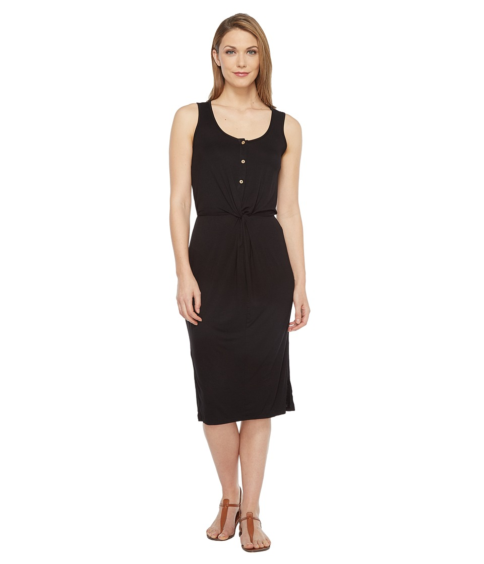 Culture Phit - Elisa Sleeveless Button Up Dress with Twist Detail (Black) Women's Dress