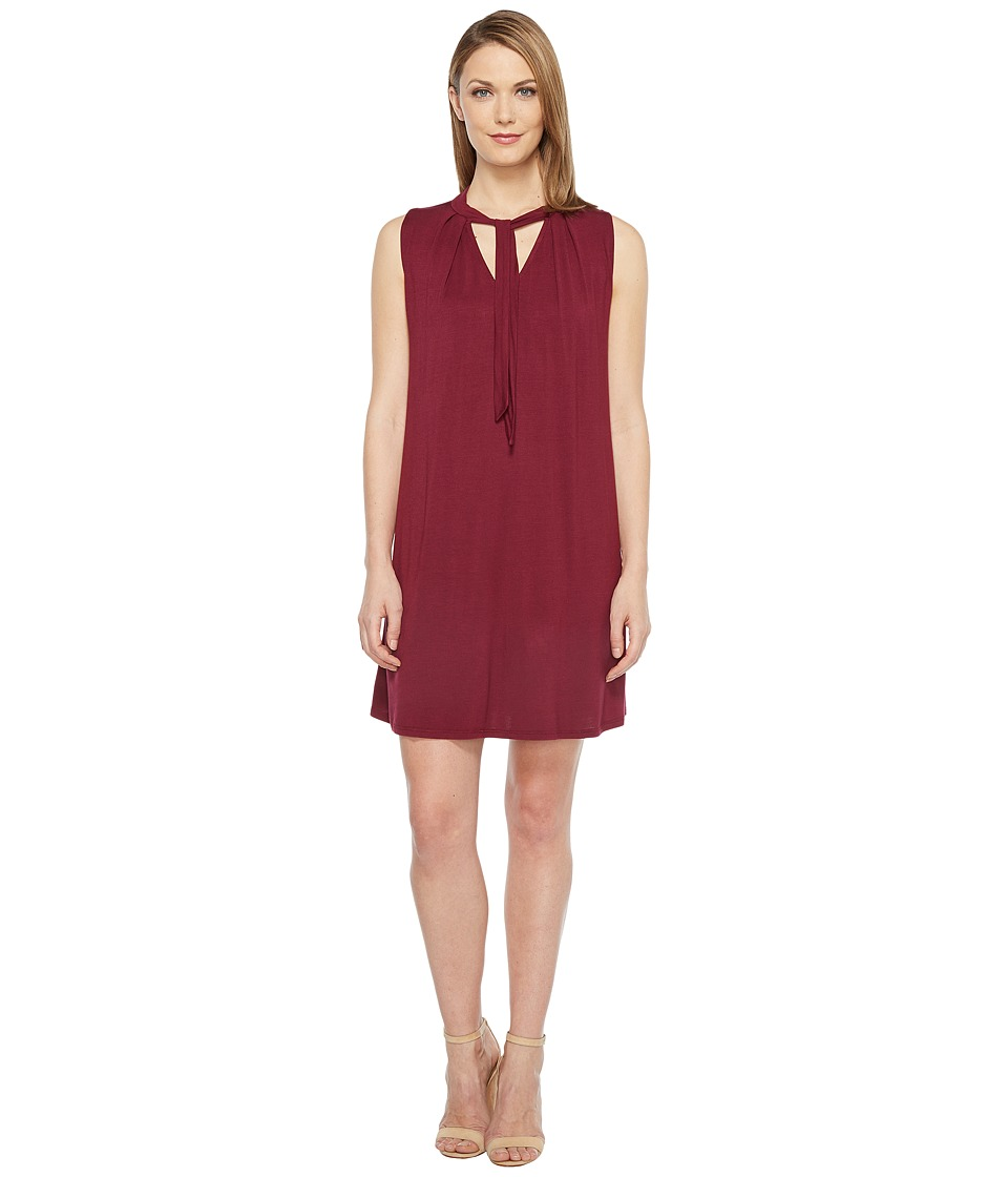 Culture Phit - June Sleeveless Dress with Neck Tie (Burgundy) Women's Dress