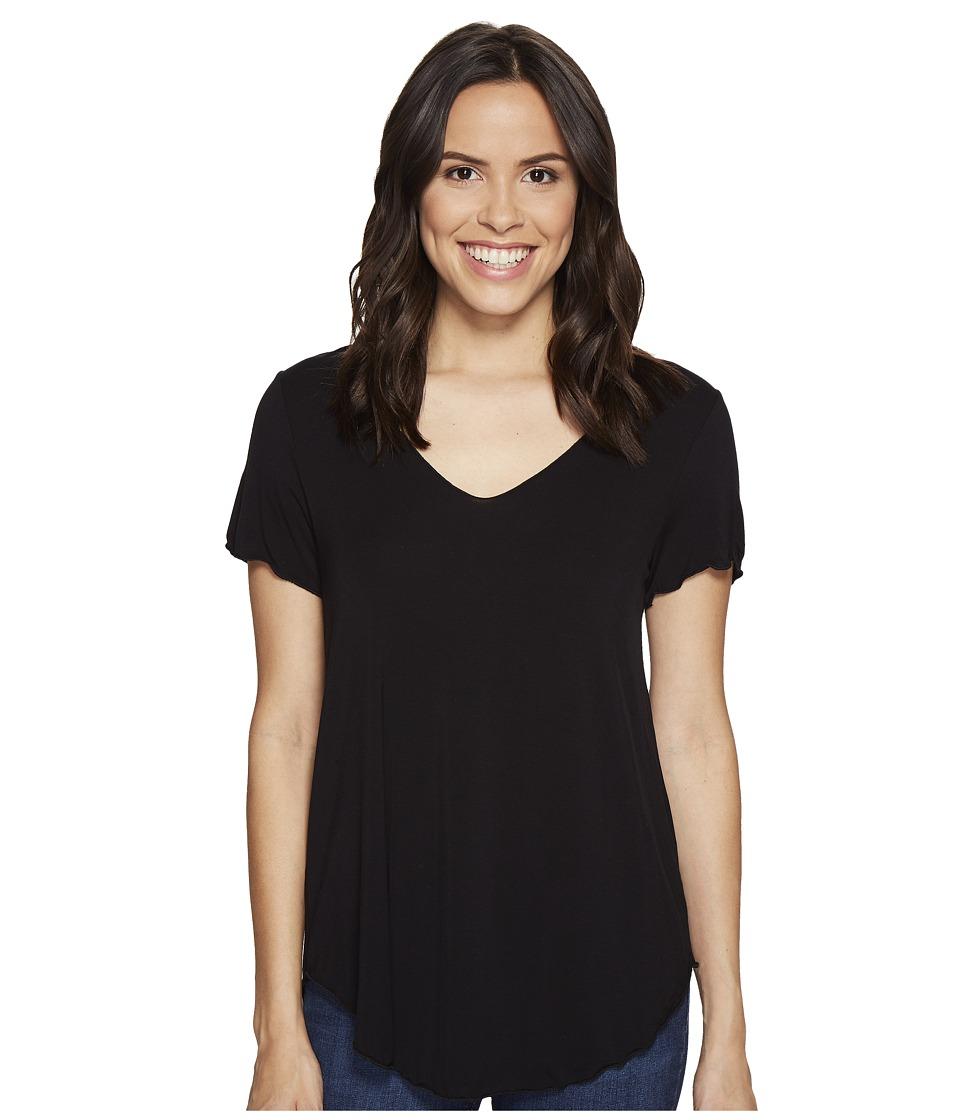 Culture Phit - Flynn V-Neck Short Sleeve Top (Black) Women's Clothing