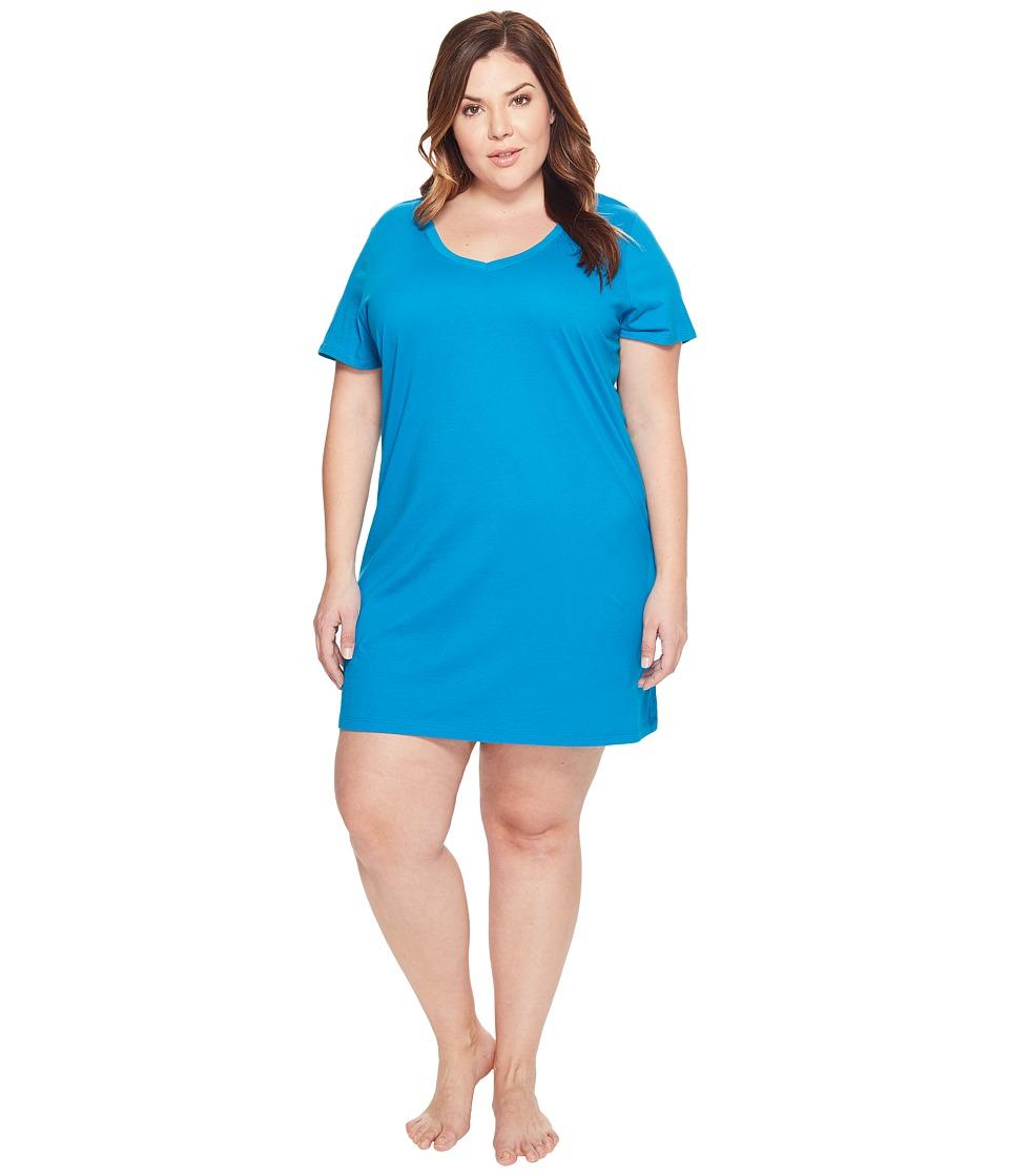 Jockey - Jockey Cotton Essentials Plus Size Sleepshirt (Teal) Women's Pajama
