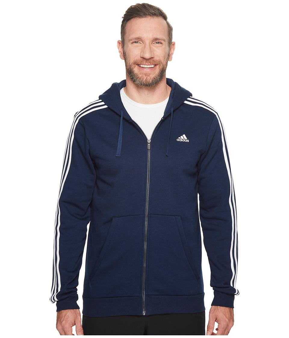 adidas - Big Tall Essentials Cotton 3S Full Zip Hoodie (Collegiate Navy/White) Men's Sweatshirt
