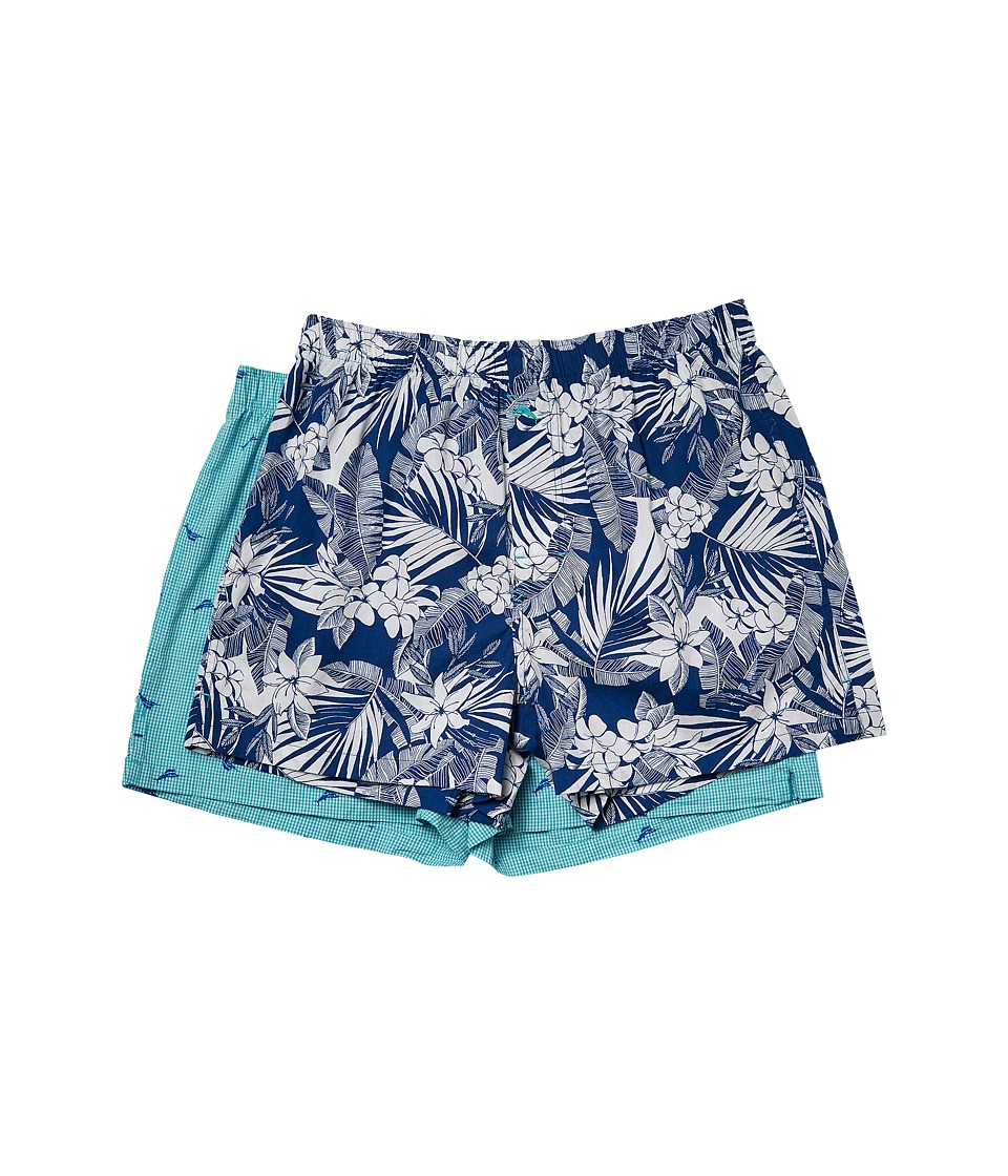 Tommy Bahama - 2-Pack Woven Boxer Set (All Over Floral Leaves/Marlin Check) Men's Underwear