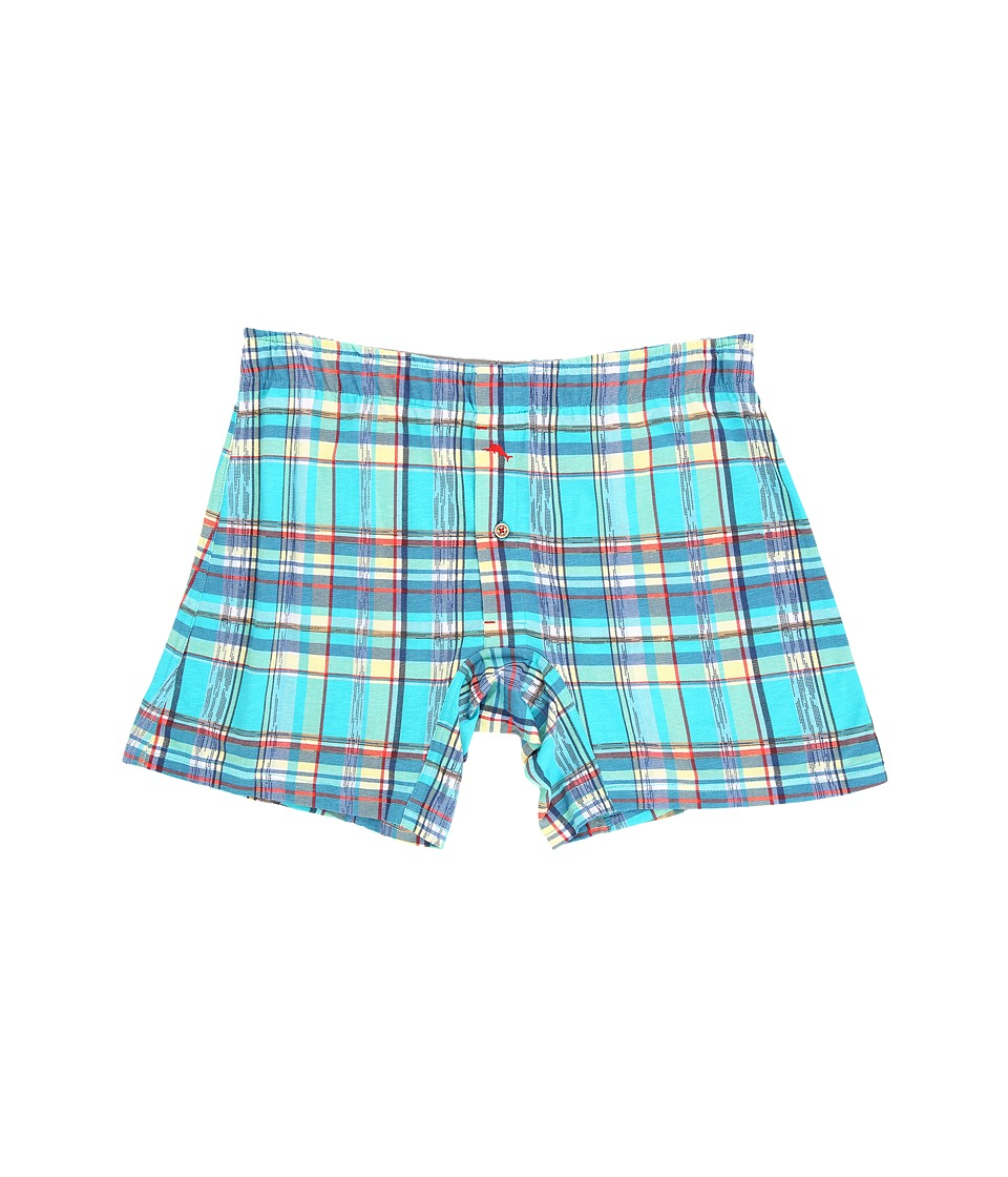 Tommy Bahama - Printed Knit Boxer Brief (Lagoon Multi Plaid) Men's Underwear