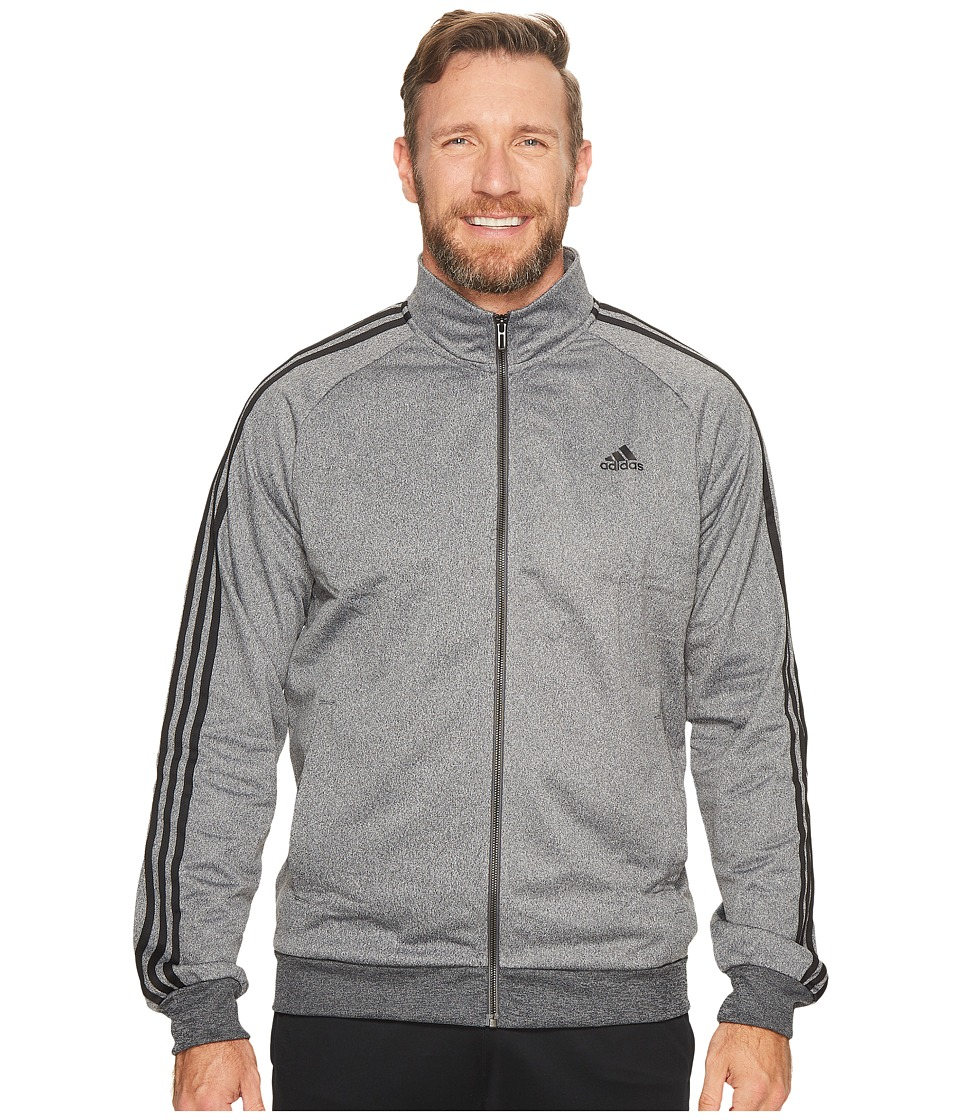 adidas - Big Tall Essentials 3S Tricot Track Jacket (Dark Grey Heather/Black) Men's Coat