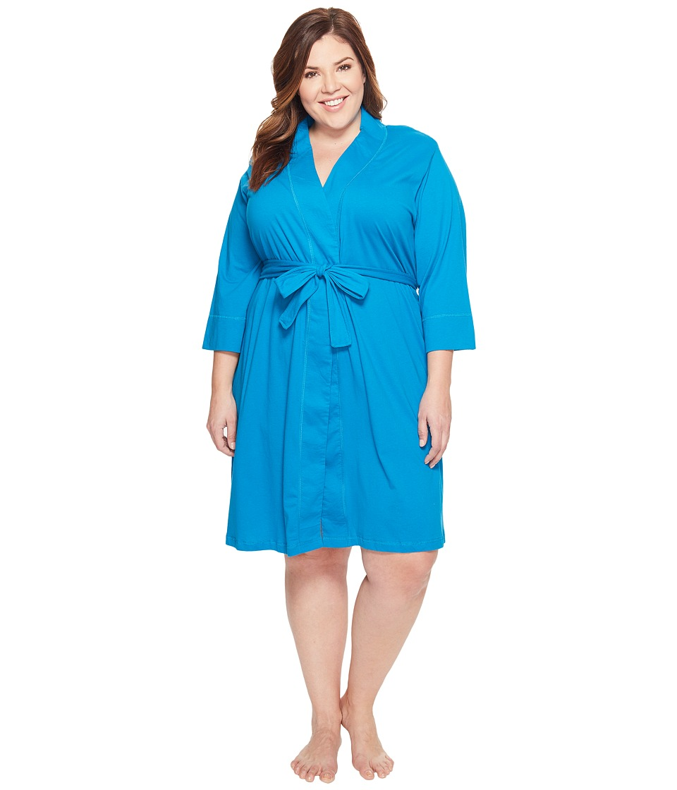 Jockey - Jockey Cotton Essentials Plus Size Robe (Teal) Women's Robe