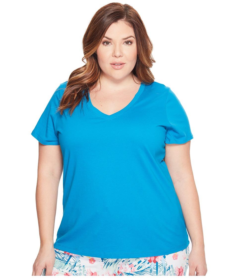 Jockey - Jockey Cotton Essentials Plus Size V-Neck Tee (Teal) Women's Pajama