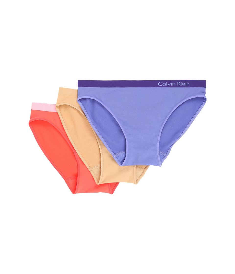 Calvin Klein Underwear - Pure Seamless 3-Pack Bikini (Tranquil Blue/Bare/Bright Nectar) Women's Underwear