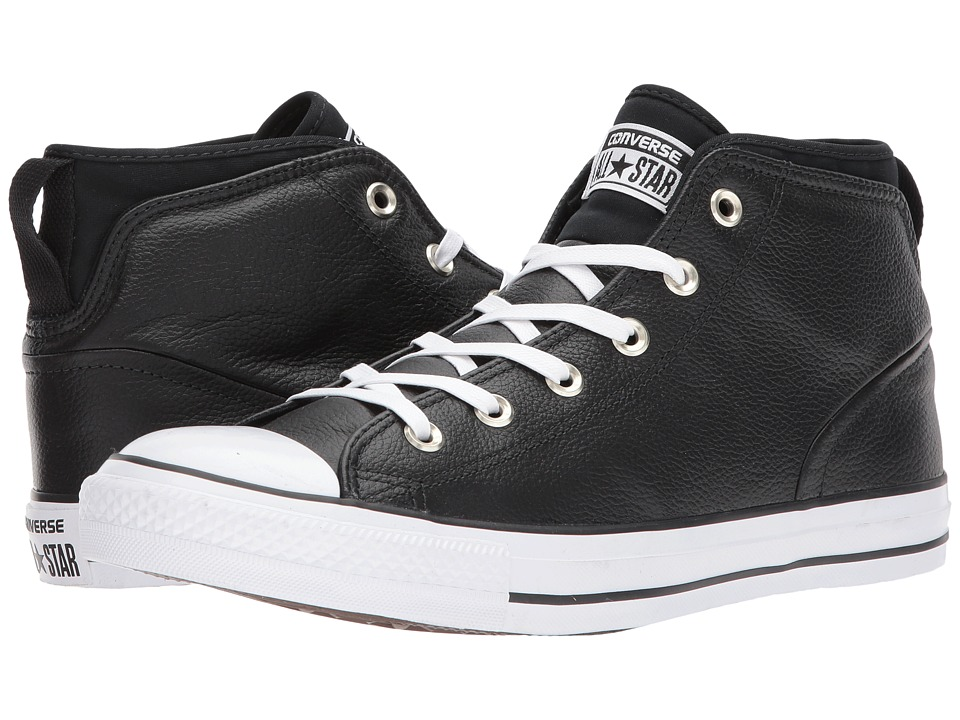 Converse Chuck Taylor All Star Syde Street Leather Mid (Black/Black/White) Classic Shoes