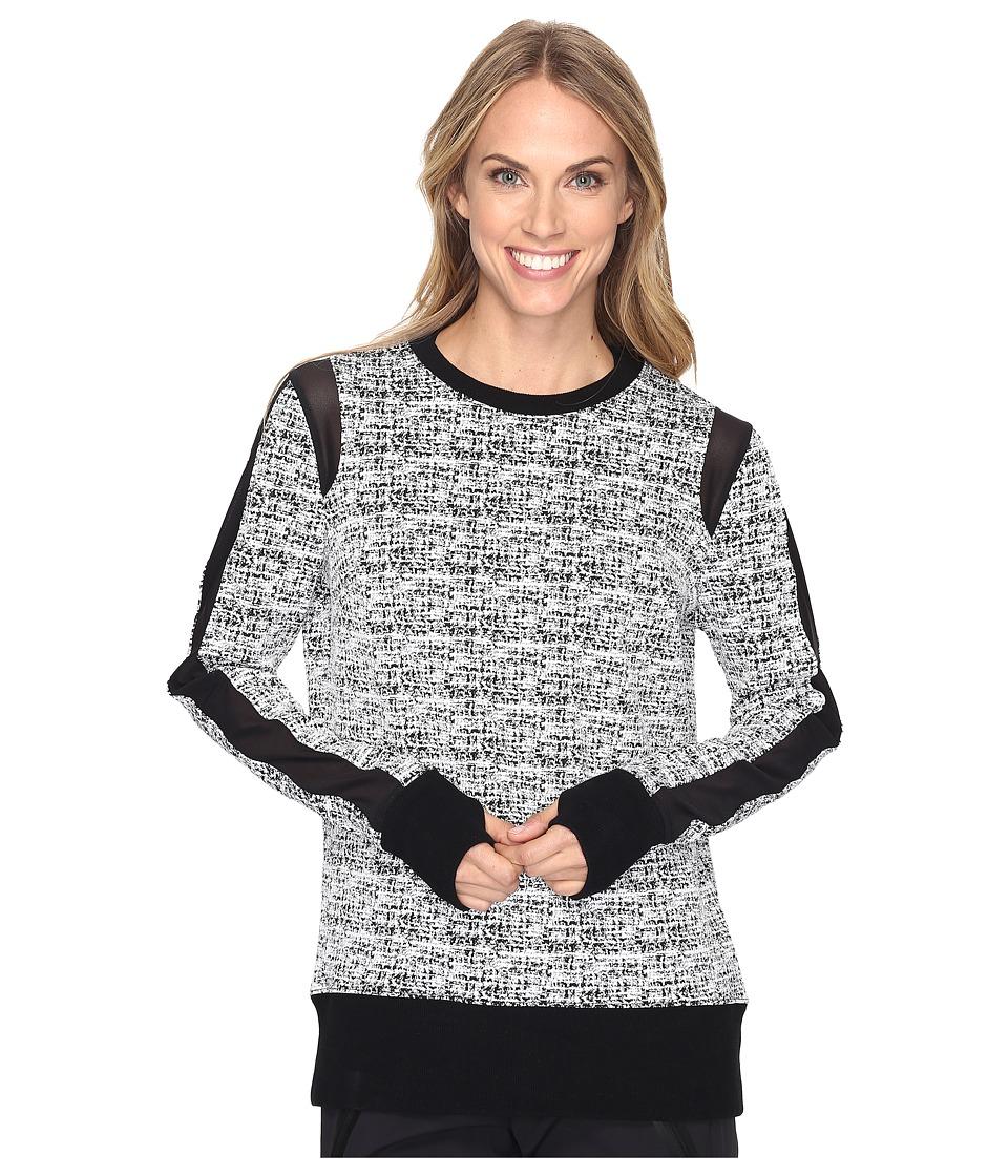 Blanc Noir - Texture Sweatshirt (White/Black) Women's Long Sleeve Pullover
