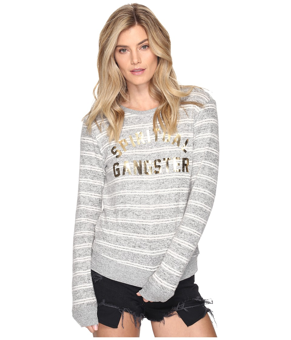 Spiritual Gangster - Collegiate Arch (Grey/White Stripes) Women's Workout