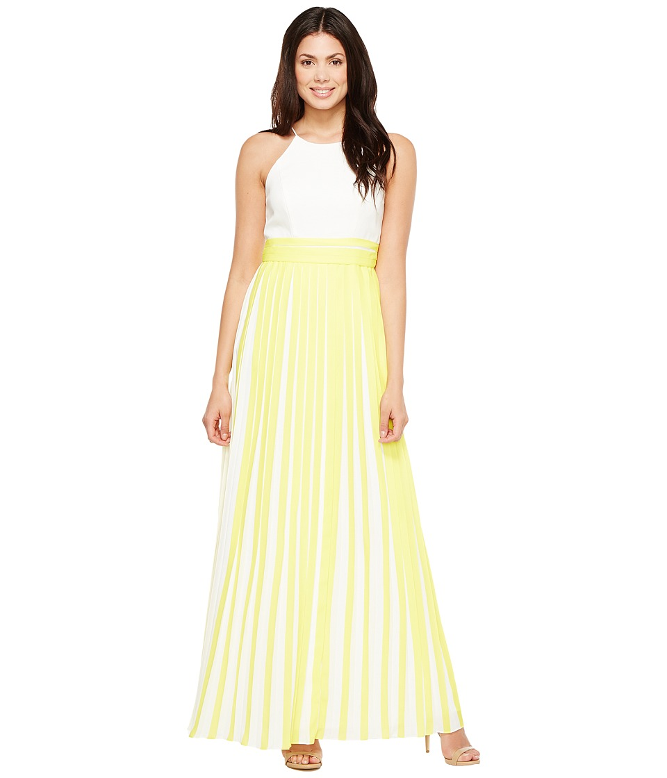 Aidan Mattox - Halter Pleated Chiffon Dress (Lemon) Women's Skirt
