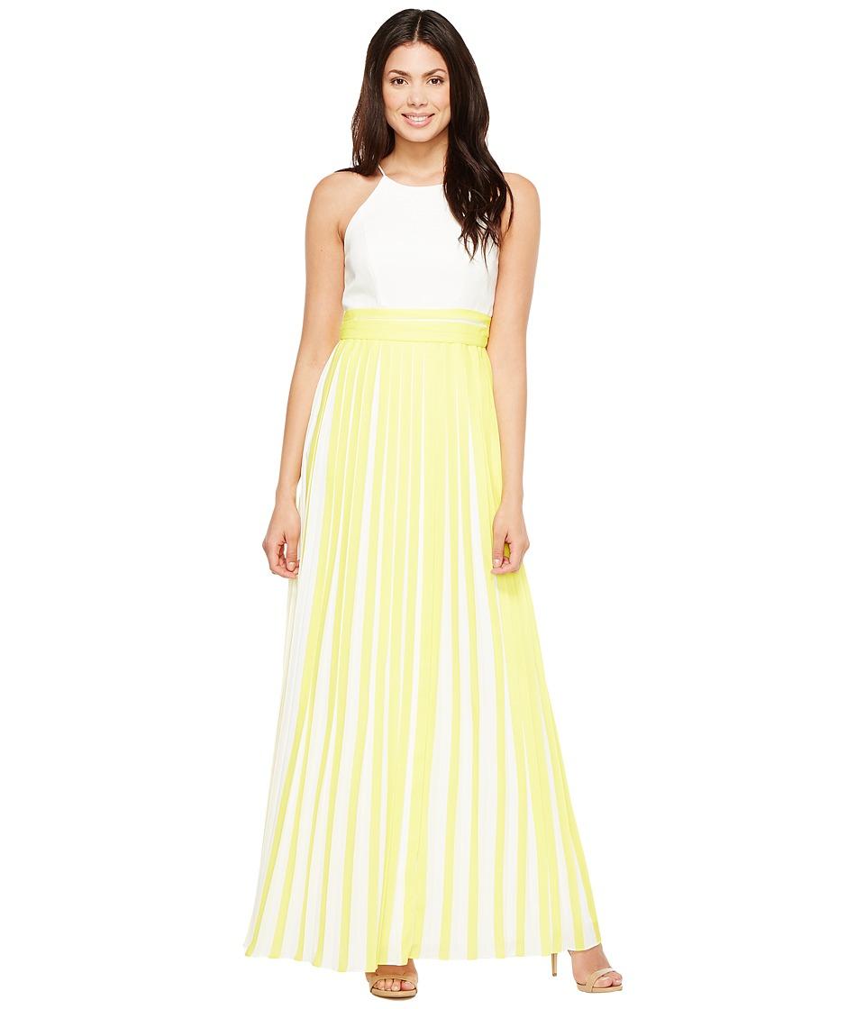 Aidan Mattox - Halter Pleated Chiffon Dress (Lemon) Women's Skirt