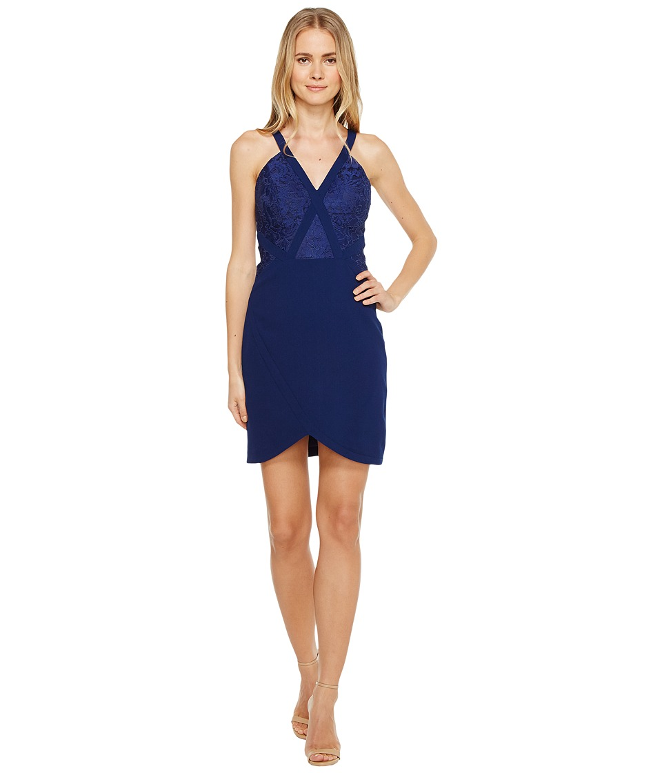 Aidan Mattox Crepe and Lace Cocktail Dress