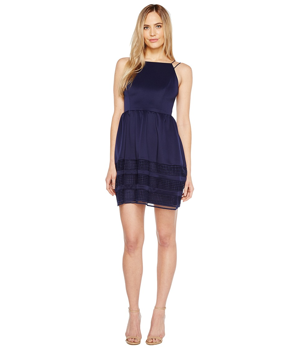 Aidan Mattox - Scuba Shadow Stripe Cocktail Dress (Navy) Women's Dress