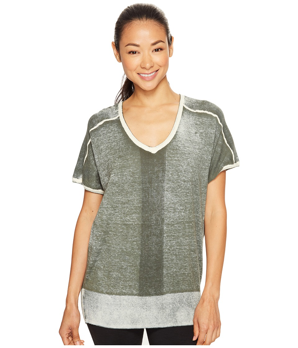 Blanc Noir - Short Sleeve Float Sweater (Olive) Women's Workout