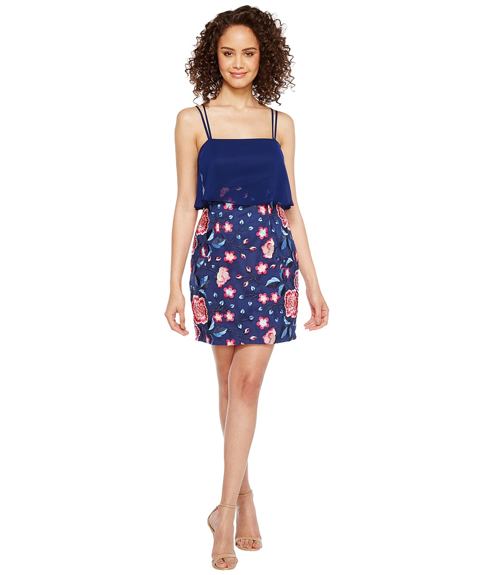 Aidan Mattox Chiffon and Embroidered Popover with Skirt (Blue Multi) Women