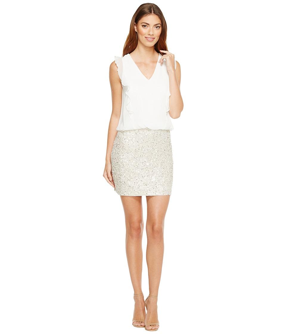 Aidan Mattox - Beaded Blouson Cocktail Dress (Light Silver) Women's Dress